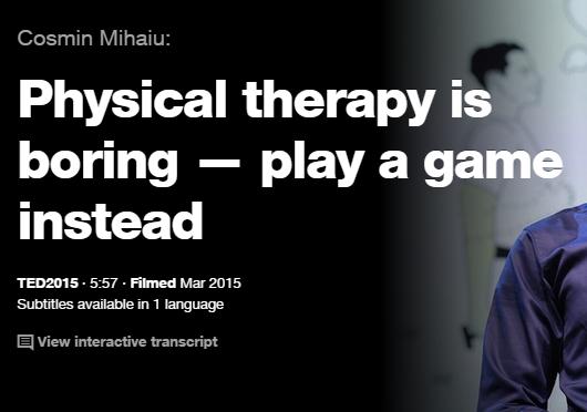 EDの英語プレゼンでリスニング : 理学療法は退屈だ 代わりにゲームをしよう